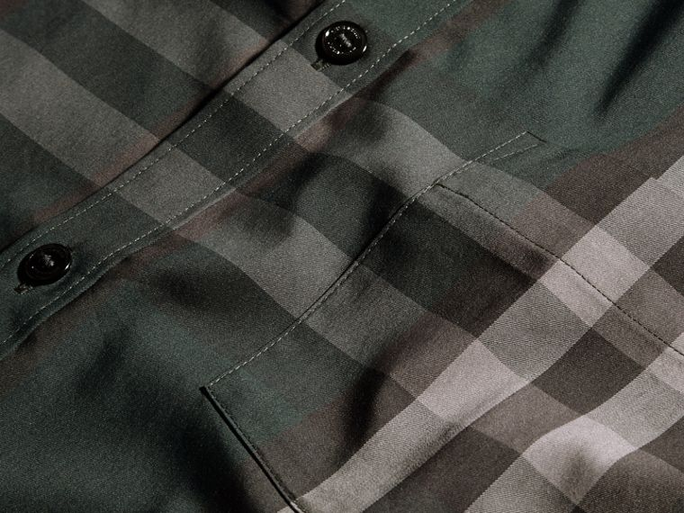Racing green Check Stretch Cotton Shirt Racing Green - cell image 1