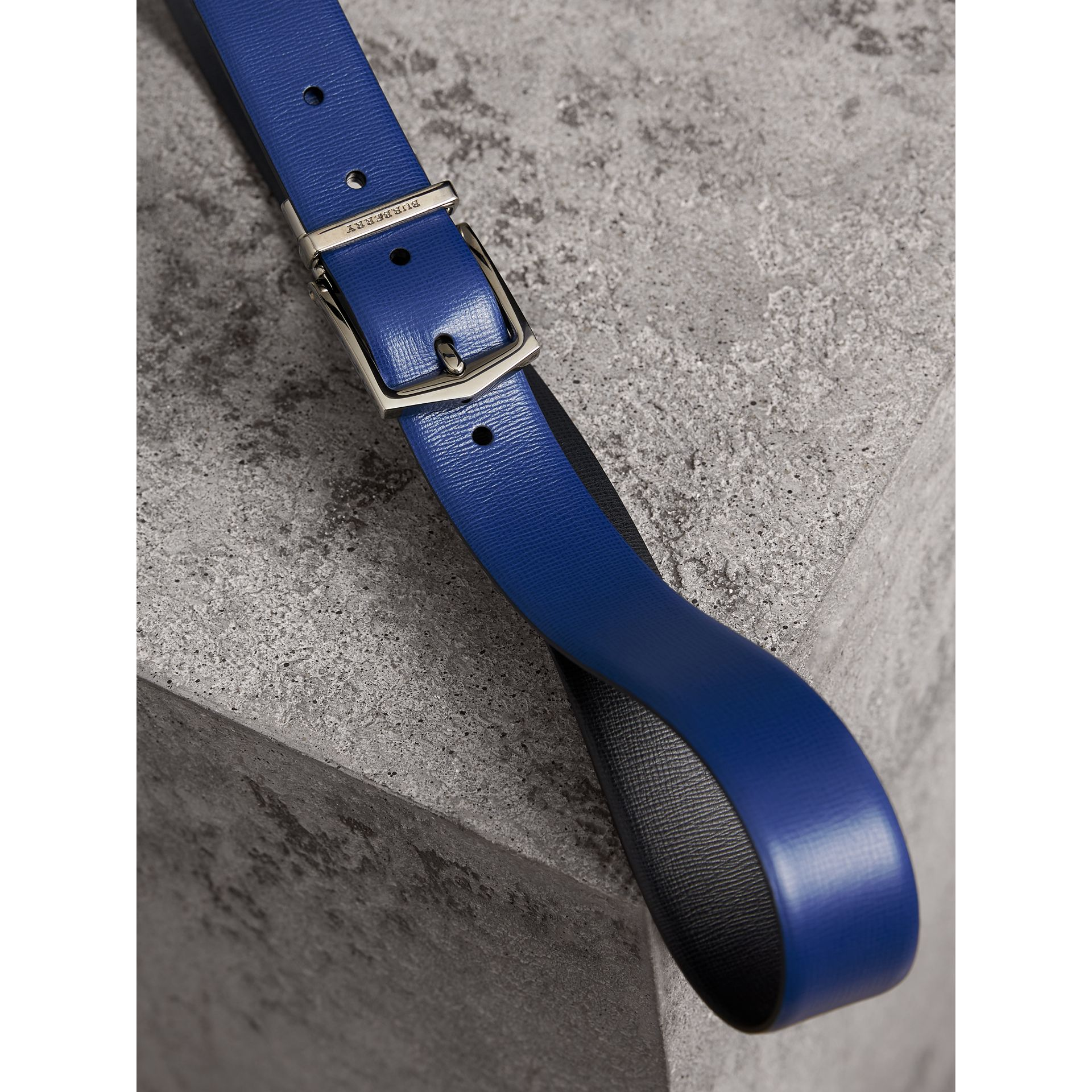Reversible London Leather Belt in Deep Blue/black - Men | Burberry - gallery image 3