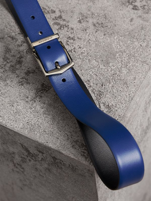 Reversible London Leather Belt in Deep Blue/black - Men | Burberry - cell image 3