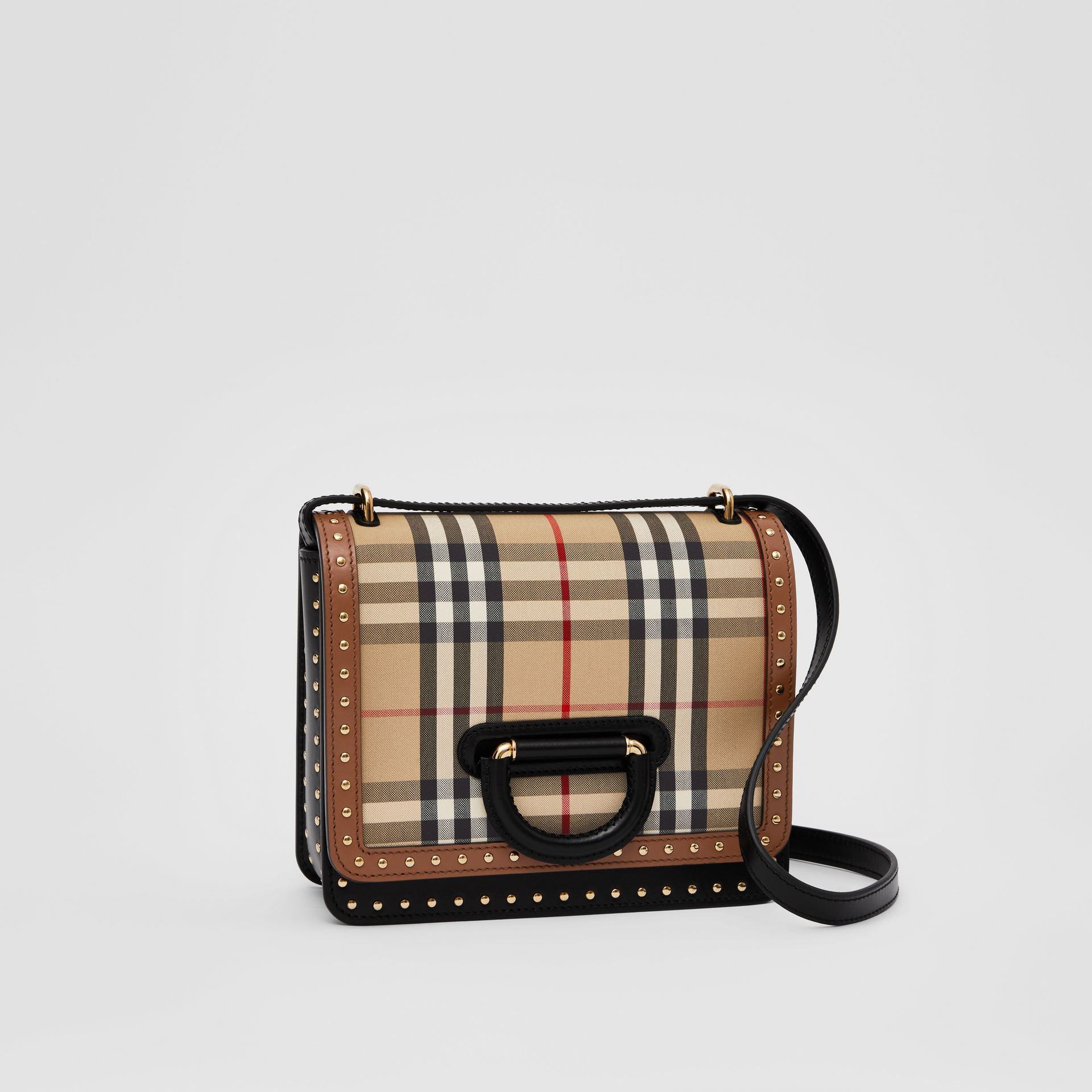 The Small Leather and Vintage Check D-ring Bag in Archive Beige - Women | Burberry - gallery image 4
