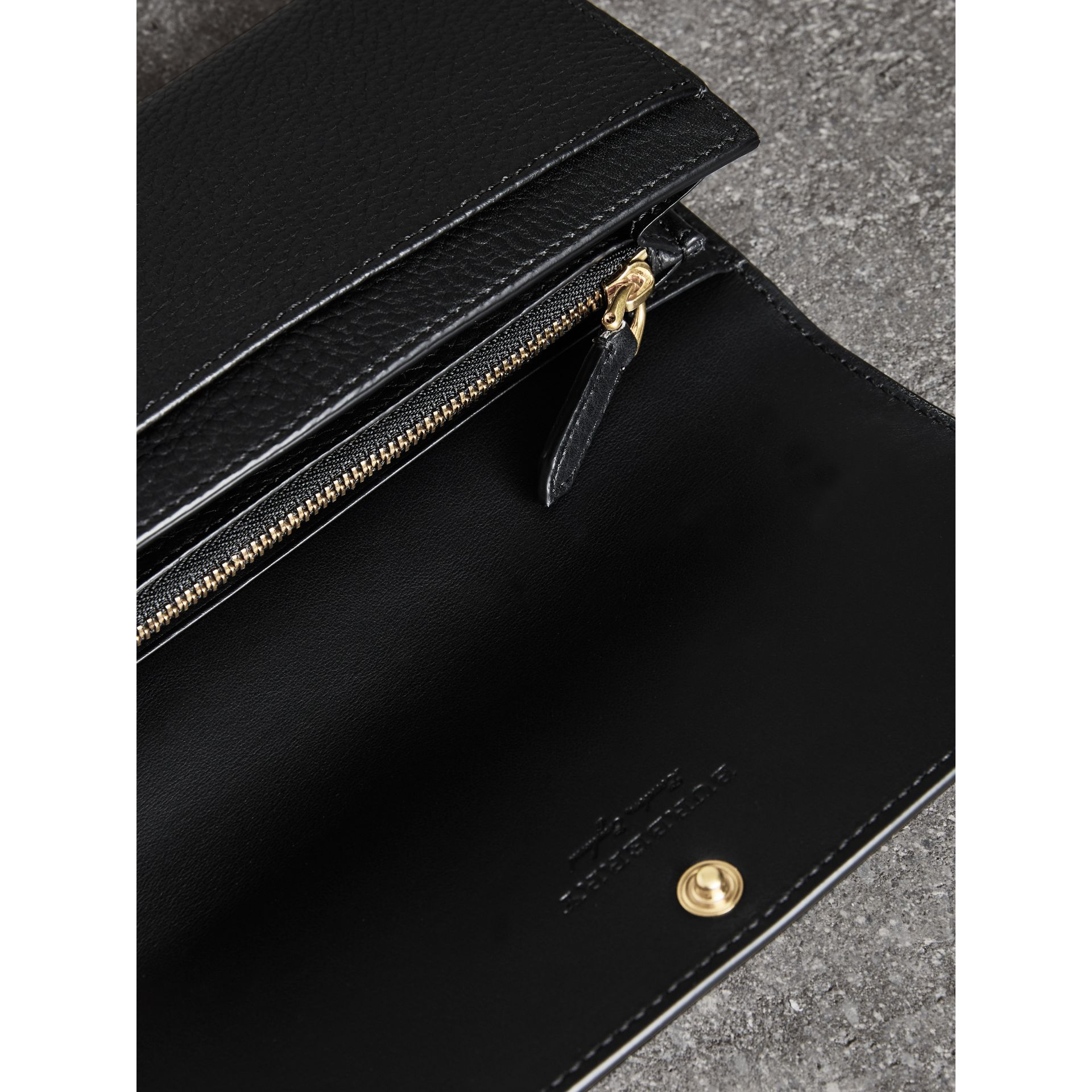 Embossed Leather Continental Wallet in Black - Women | Burberry United Kingdom - gallery image 2