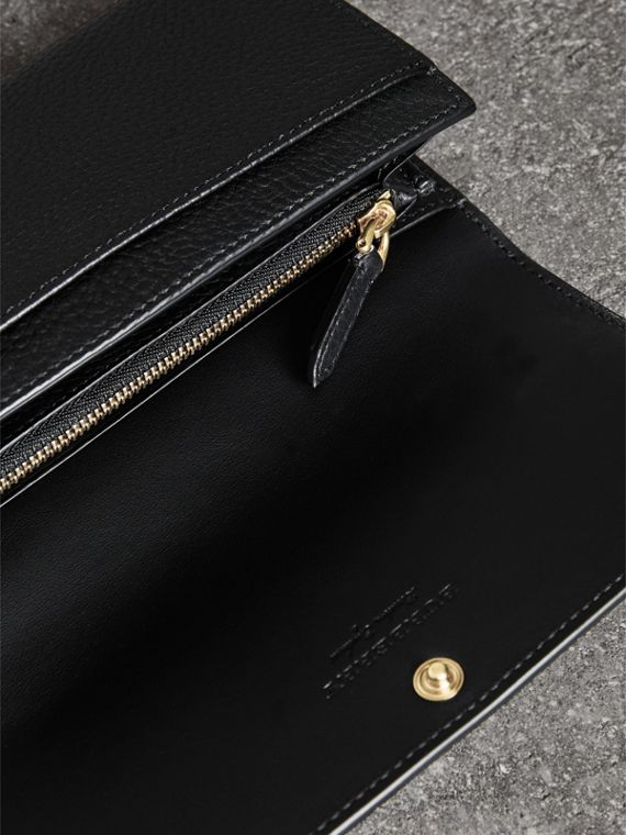 Embossed Leather Continental Wallet in Black - Women | Burberry United States - cell image 2