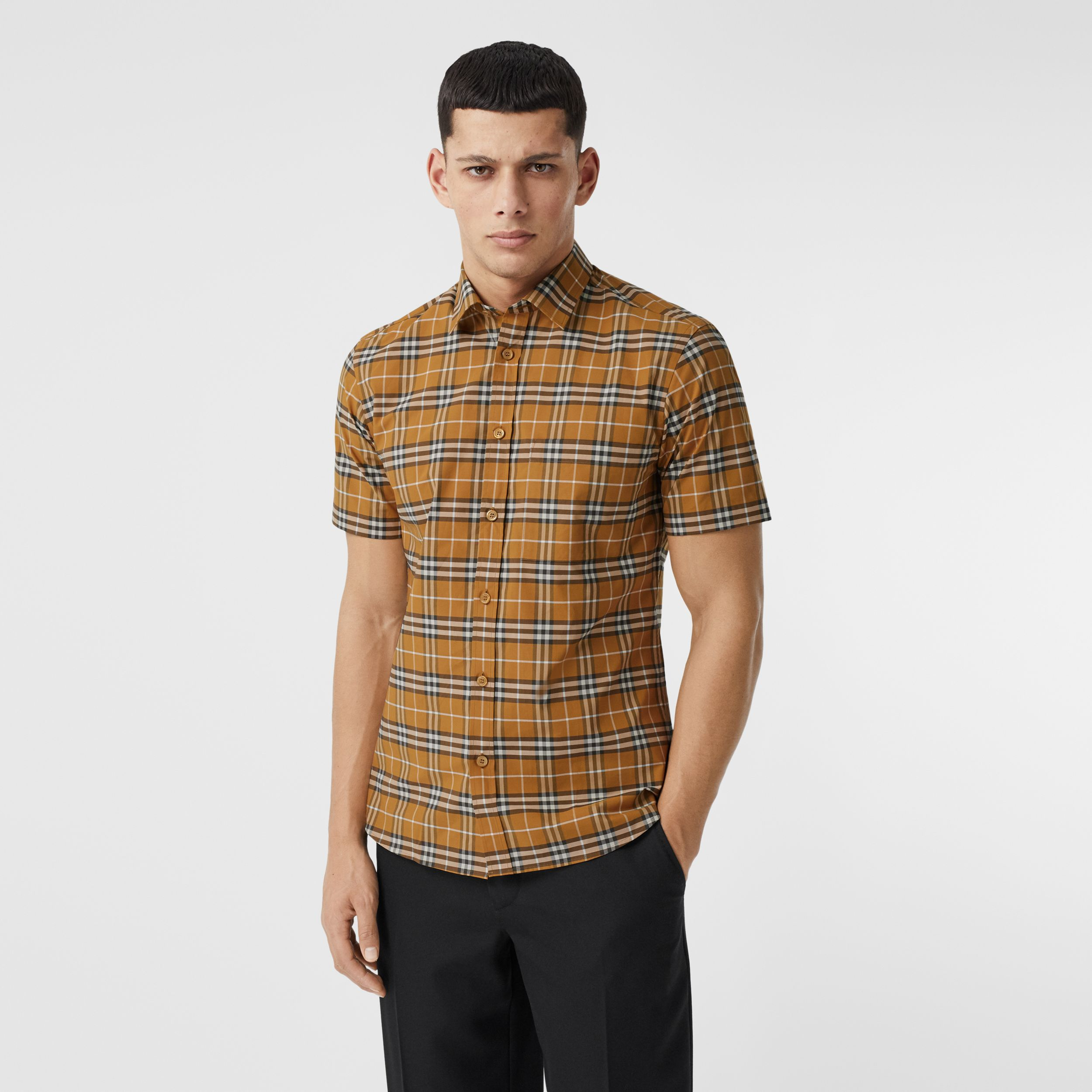 Short-sleeve Small Scale Check Stretch Cotton Shirt in Bright Toffee - Men | Burberry - 1