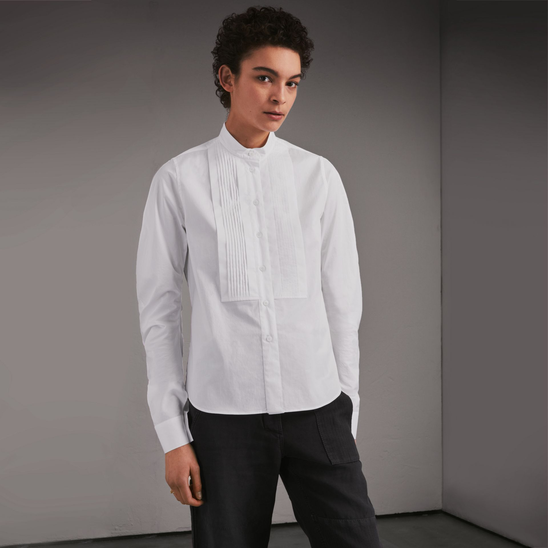 Pintuck Bib Stretch Cotton Shirt White - gallery image 1