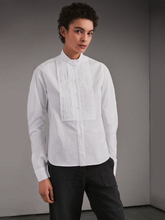 Grandad Collar Stretch Cotton Shirt with Pintuck Bib