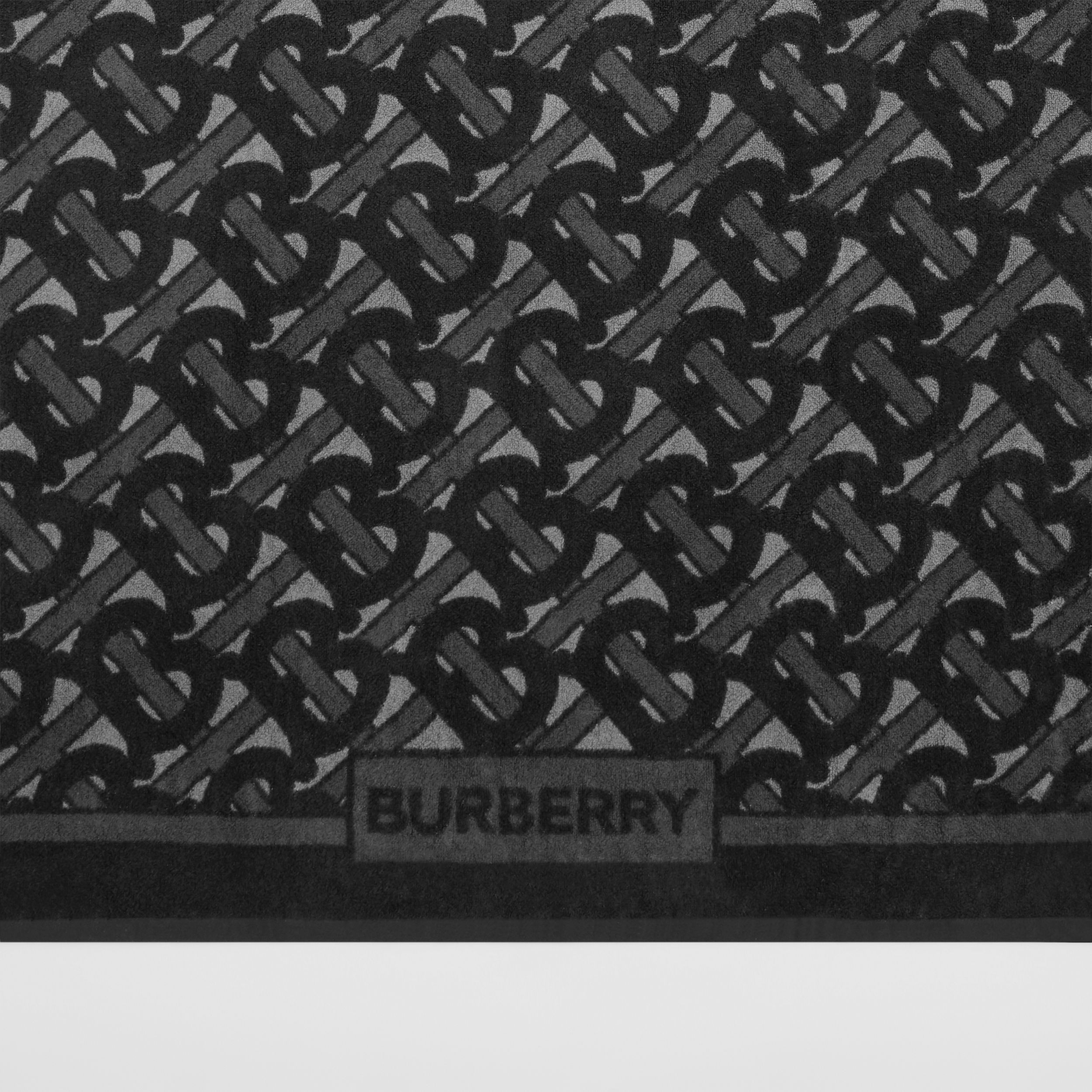 Monogram and Logo Print Cotton Towel in Graphite | Burberry - 2