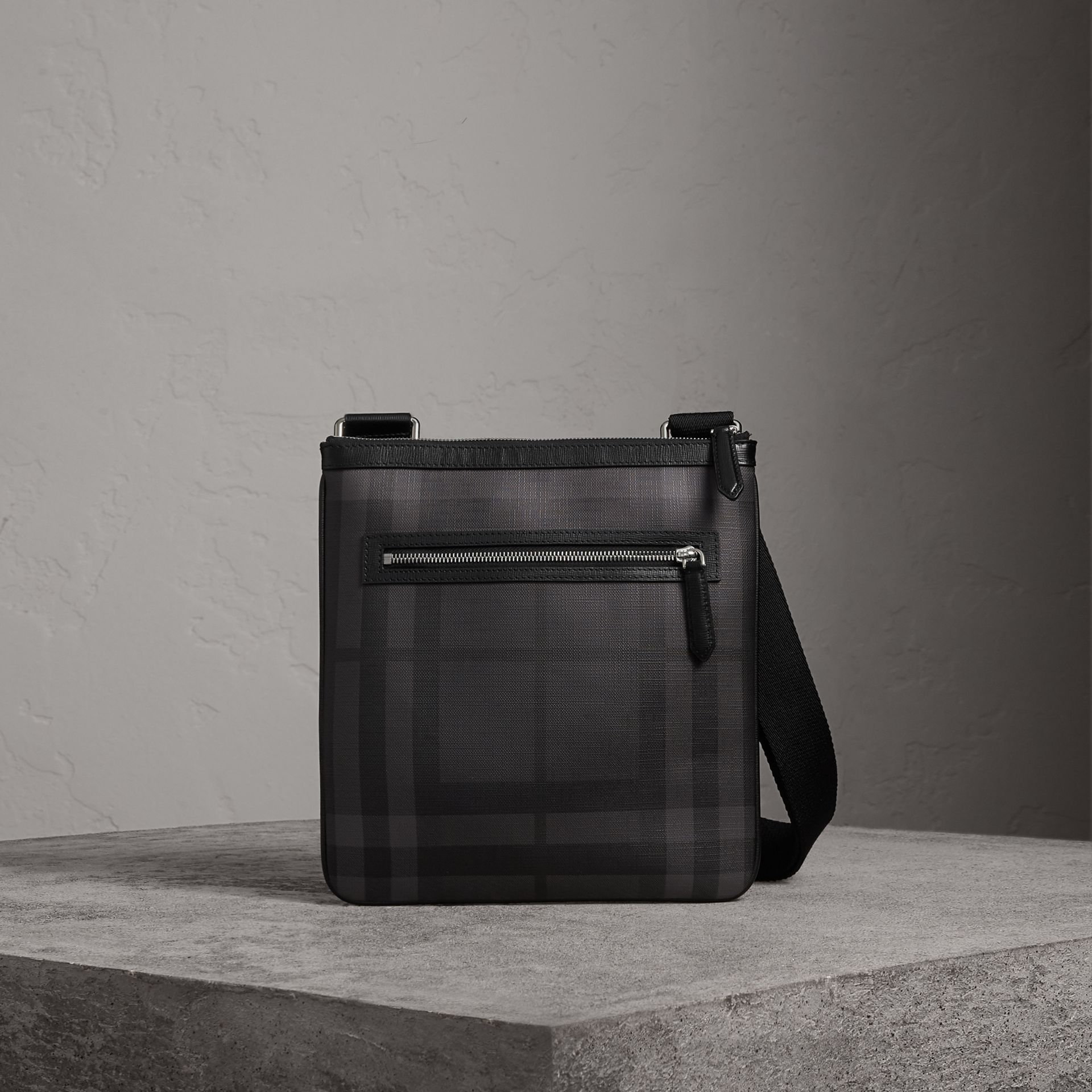 Leather Trim London Check Crossbody Bag in Charcoal/black - Men | Burberry United Kingdom - gallery image 0