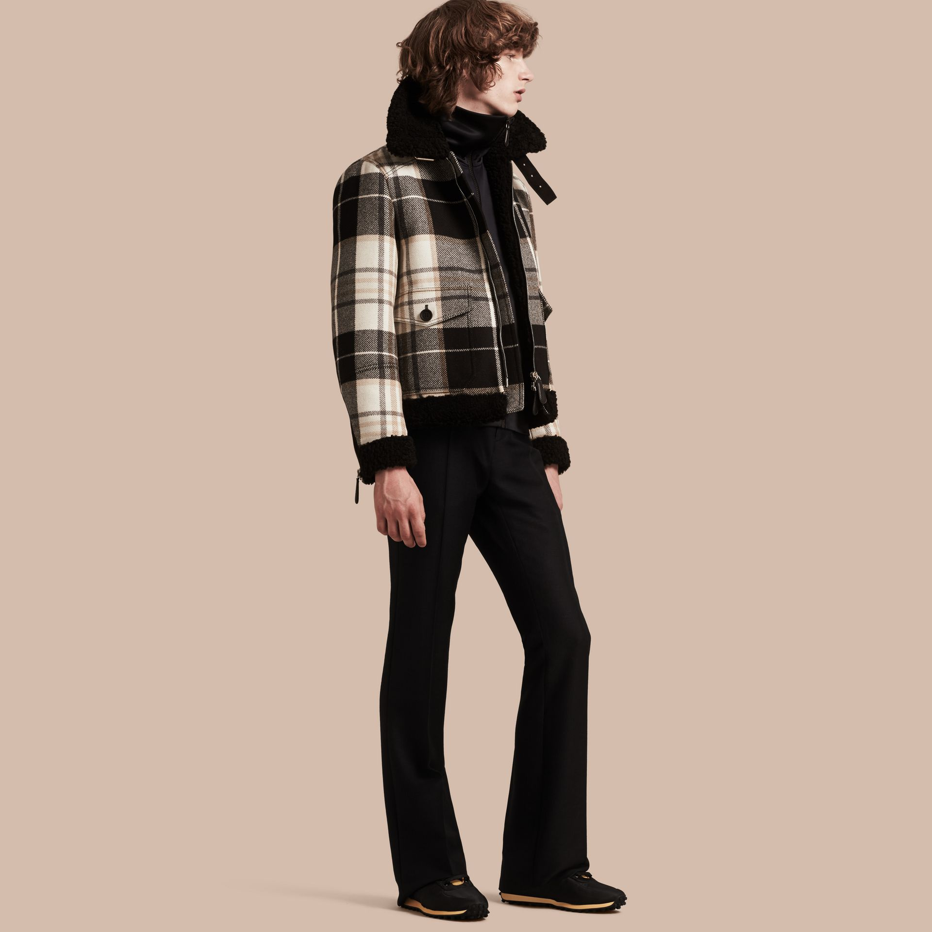 Black Shearling Trim Tartan Wool Flight Jacket - gallery image 1