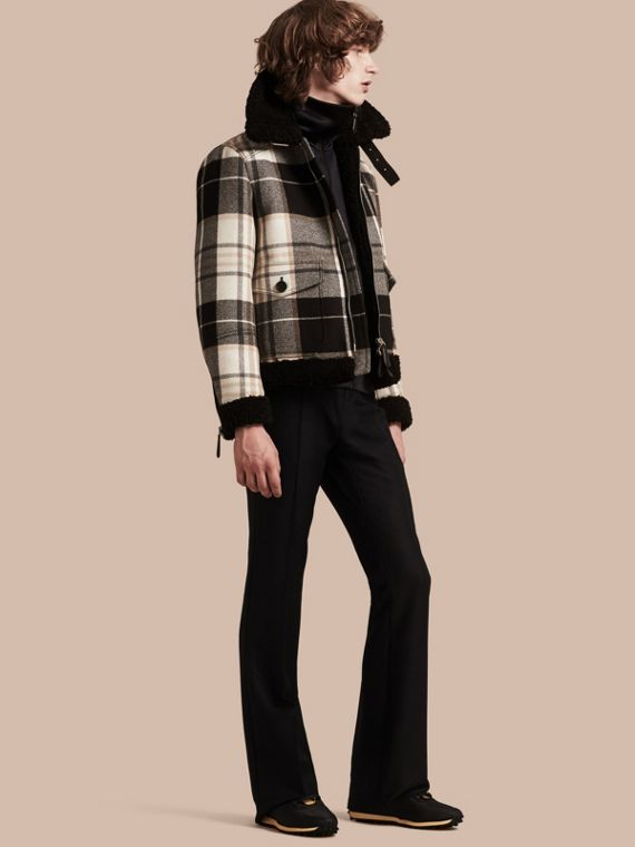 Shearling Trim Tartan Wool Flight Jacket