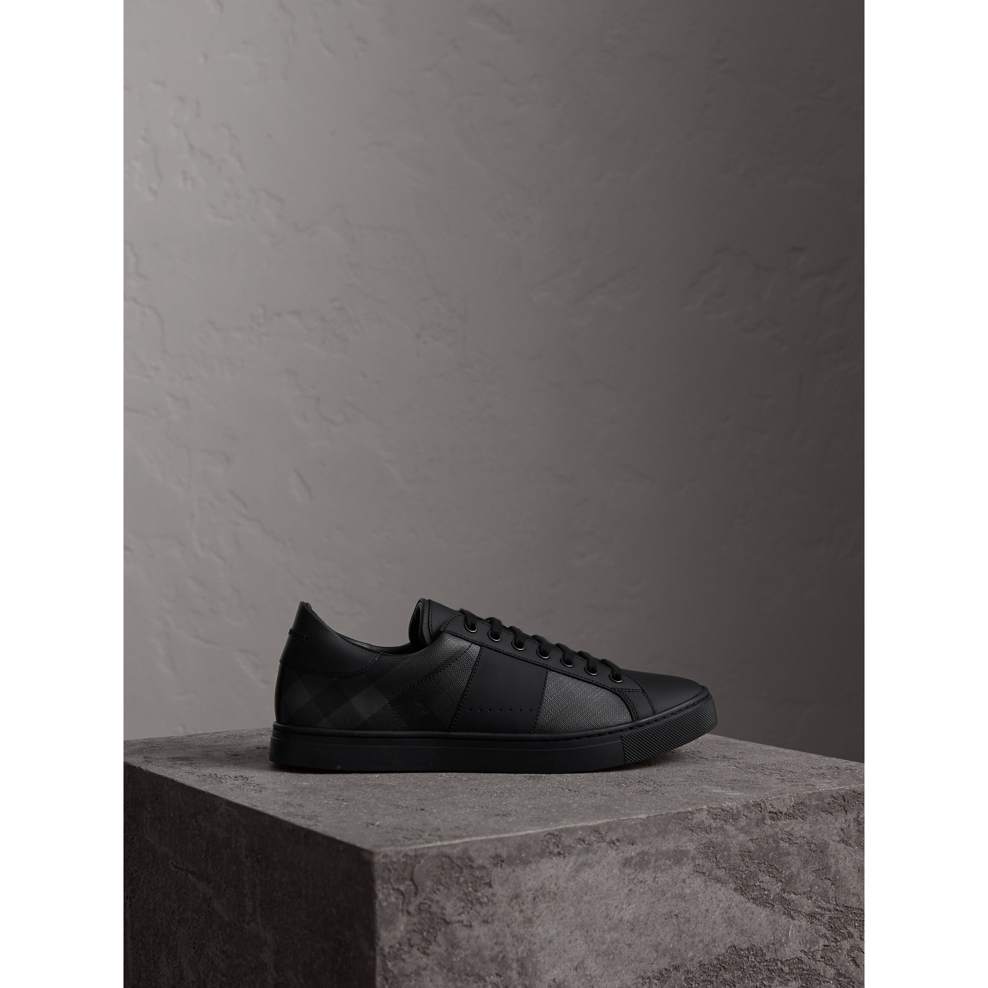 London Check and Leather Sneakers in Charcoal - Men | Burberry Canada - gallery image 4