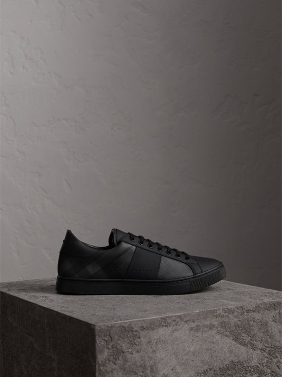 London Check and Leather Sneakers in Charcoal