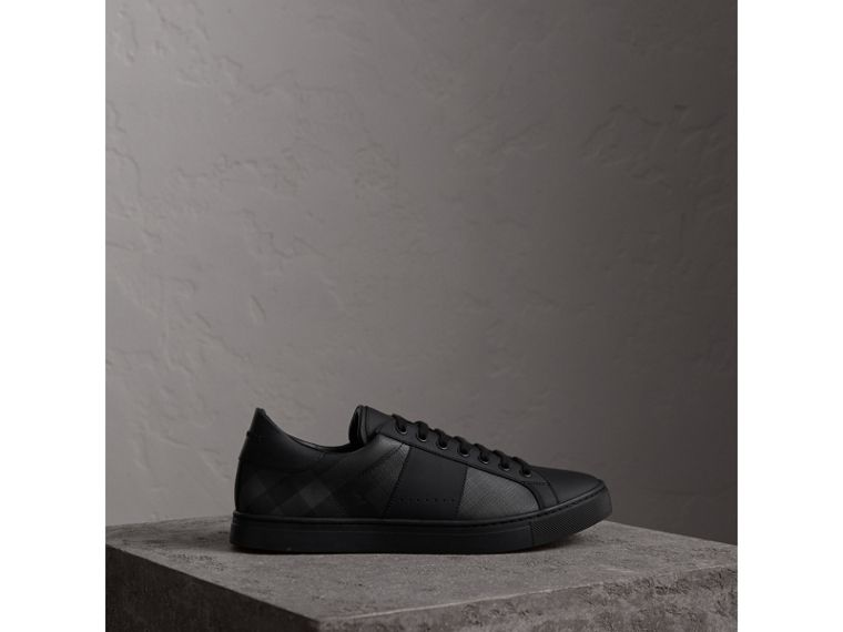 Check Detail Leather Trainers in Charcoal - Men | Burberry - cell image 4