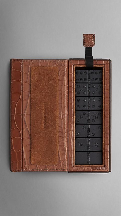 Argile Jeu de dominos avec étui en cuir d'alligator noirci - Image 2