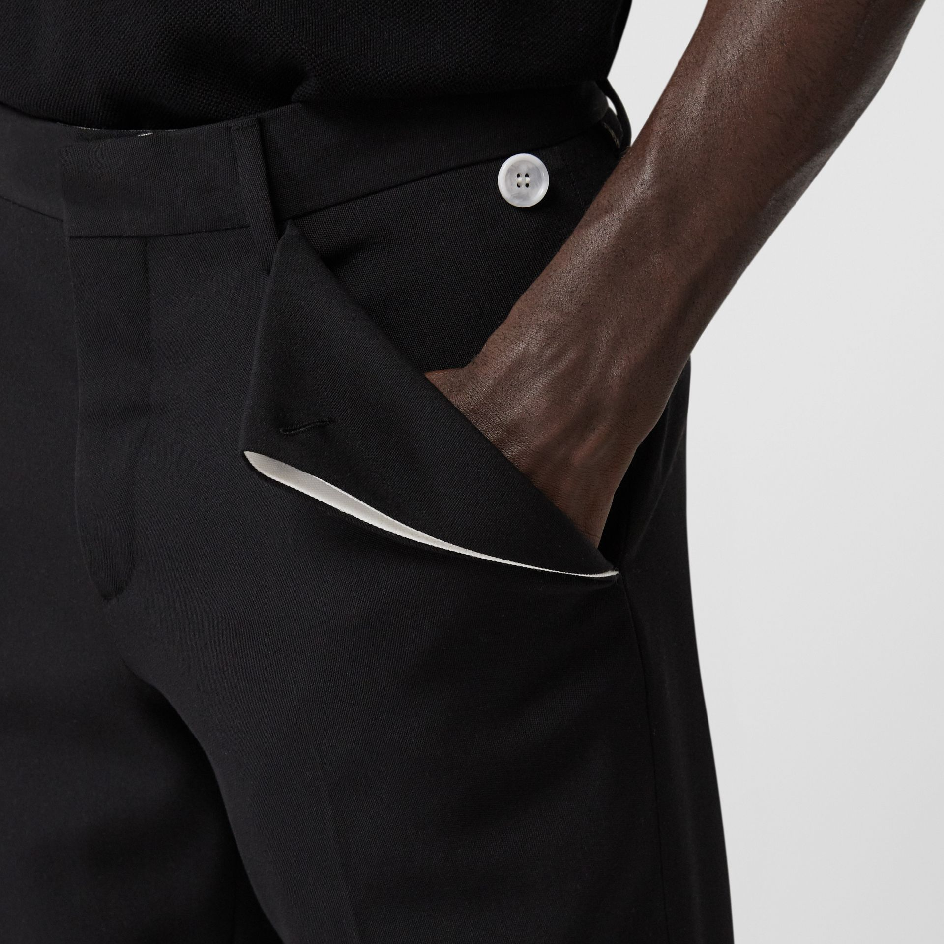 English Fit Pocket Detail Wool Tailored Trousers in Black | Burberry - gallery image 1