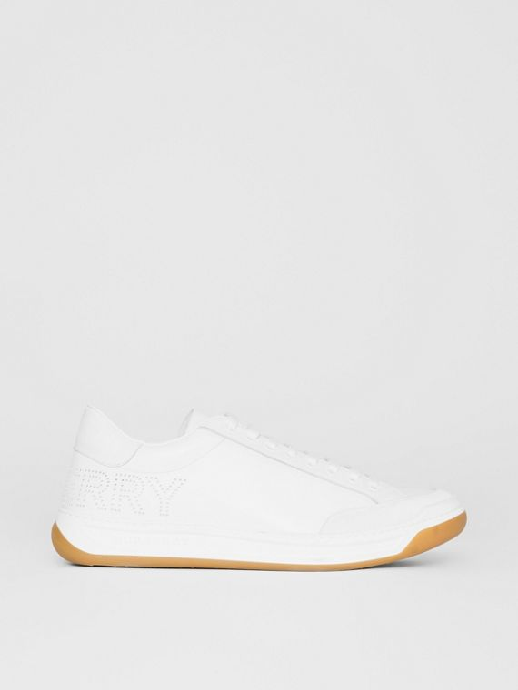 Perforated Logo Leather Tennis Sneakers in Optic White