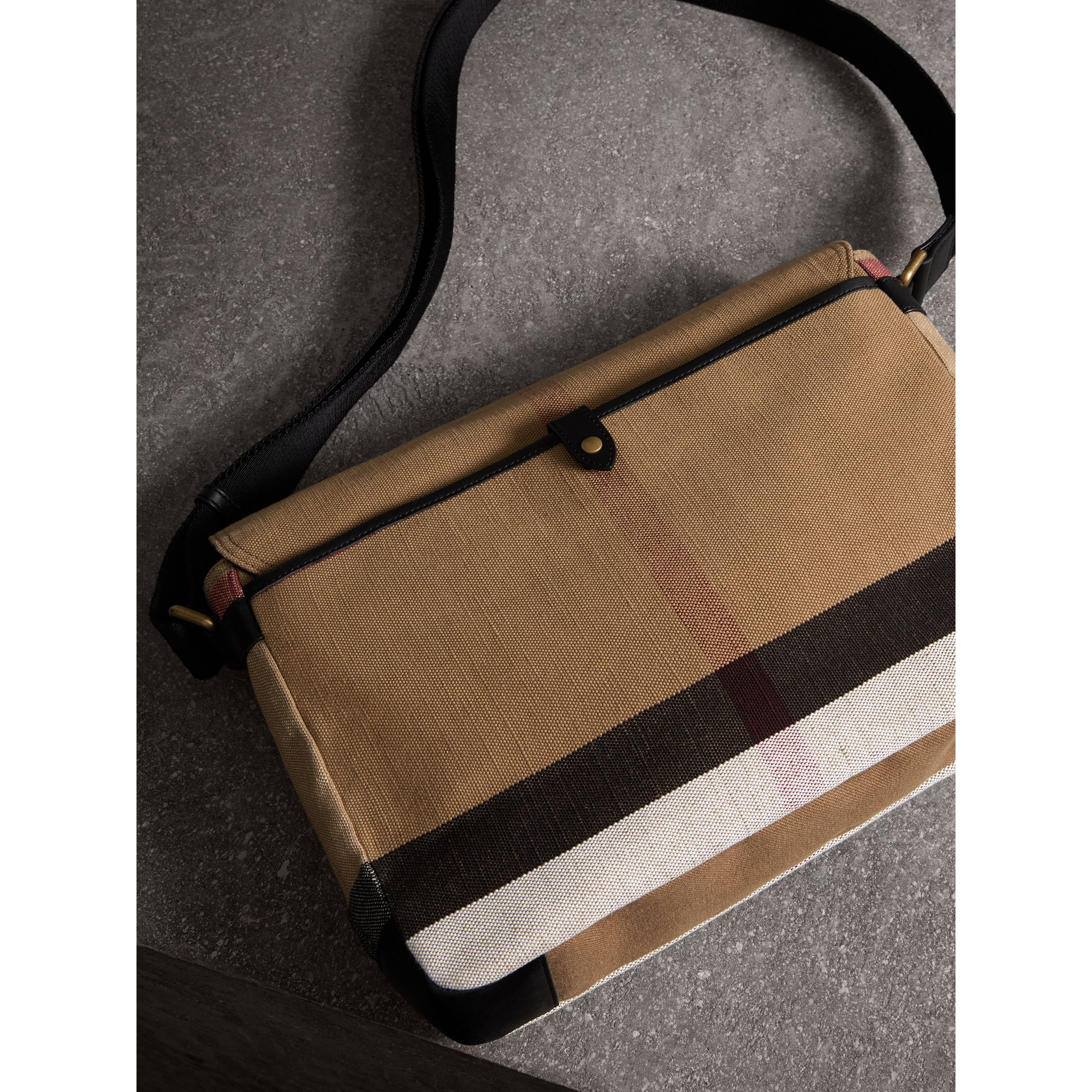 Large Leather Trim Canvas Check Messenger Bag in Black - Men | Burberry Australia - gallery image 3