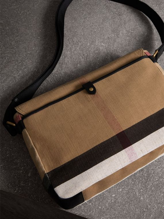 Large Leather Trim Canvas Check Messenger Bag in Black - Men | Burberry - cell image 3