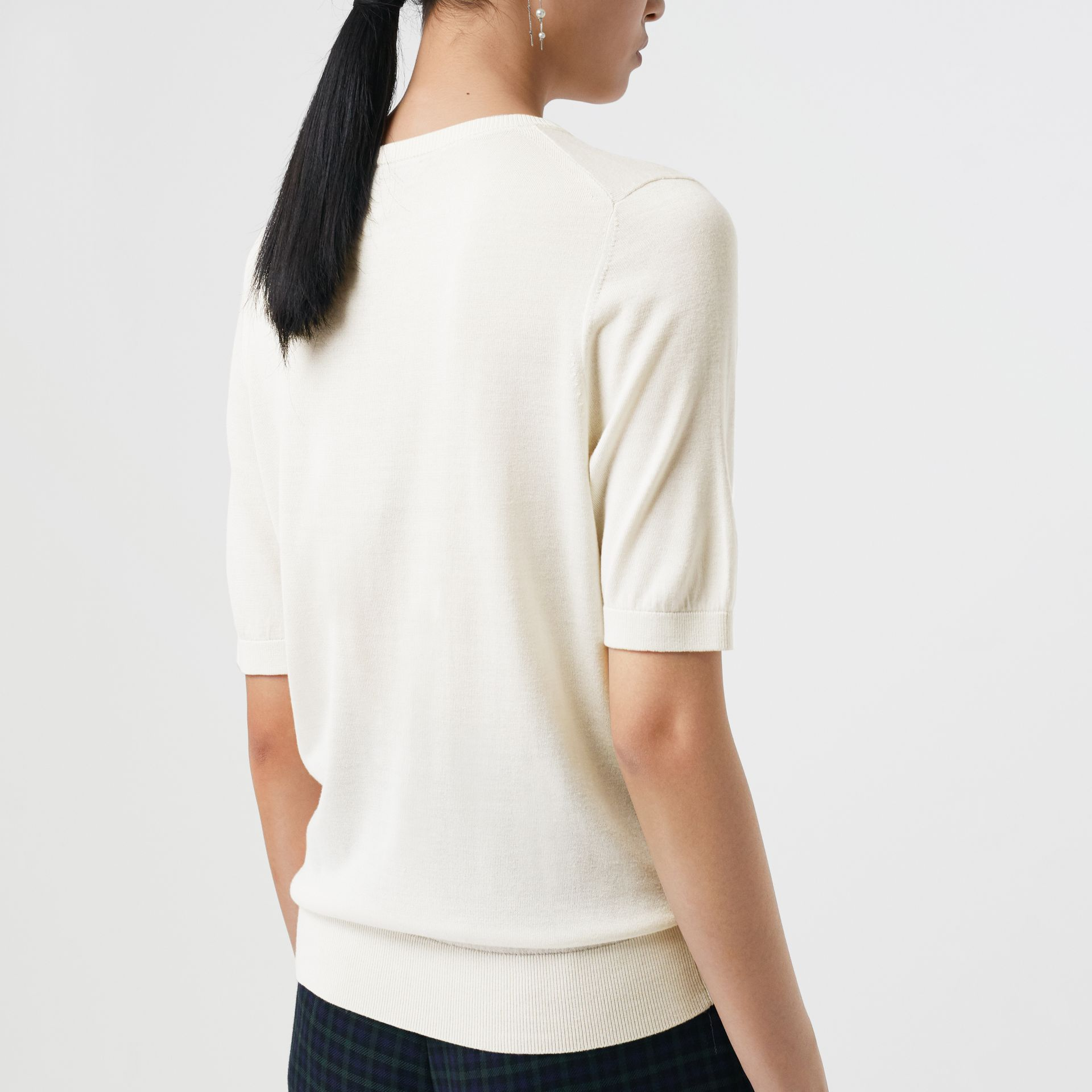 Short-sleeve Silk Cashmere Sweater in Natural White - Women | Burberry - gallery image 2