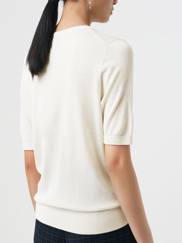 Short-sleeve Silk Cashmere Sweater in Natural White - Women | Burberry Australia - cell image 2