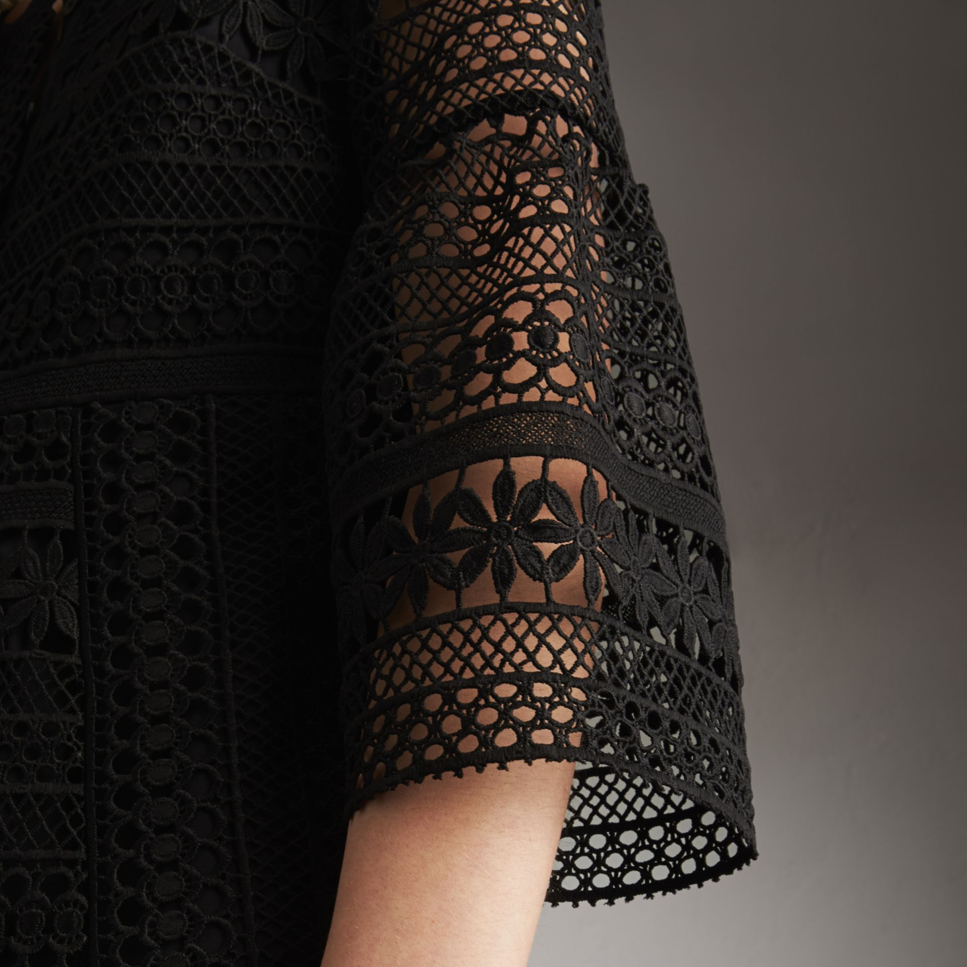 Puff-sleeve Macramé Lace Dress in Black - Women | Burberry - gallery image 5
