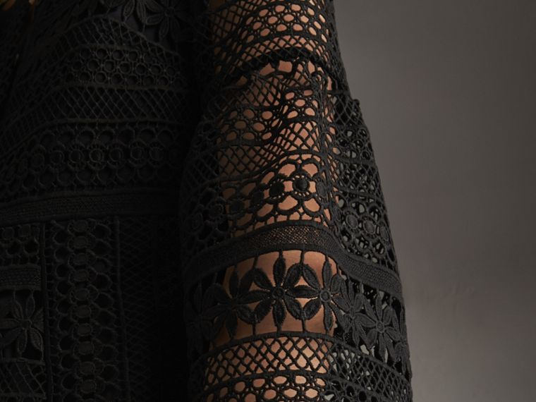 Puff-sleeve Macramé Lace Dress in Black - Women | Burberry - cell image 4