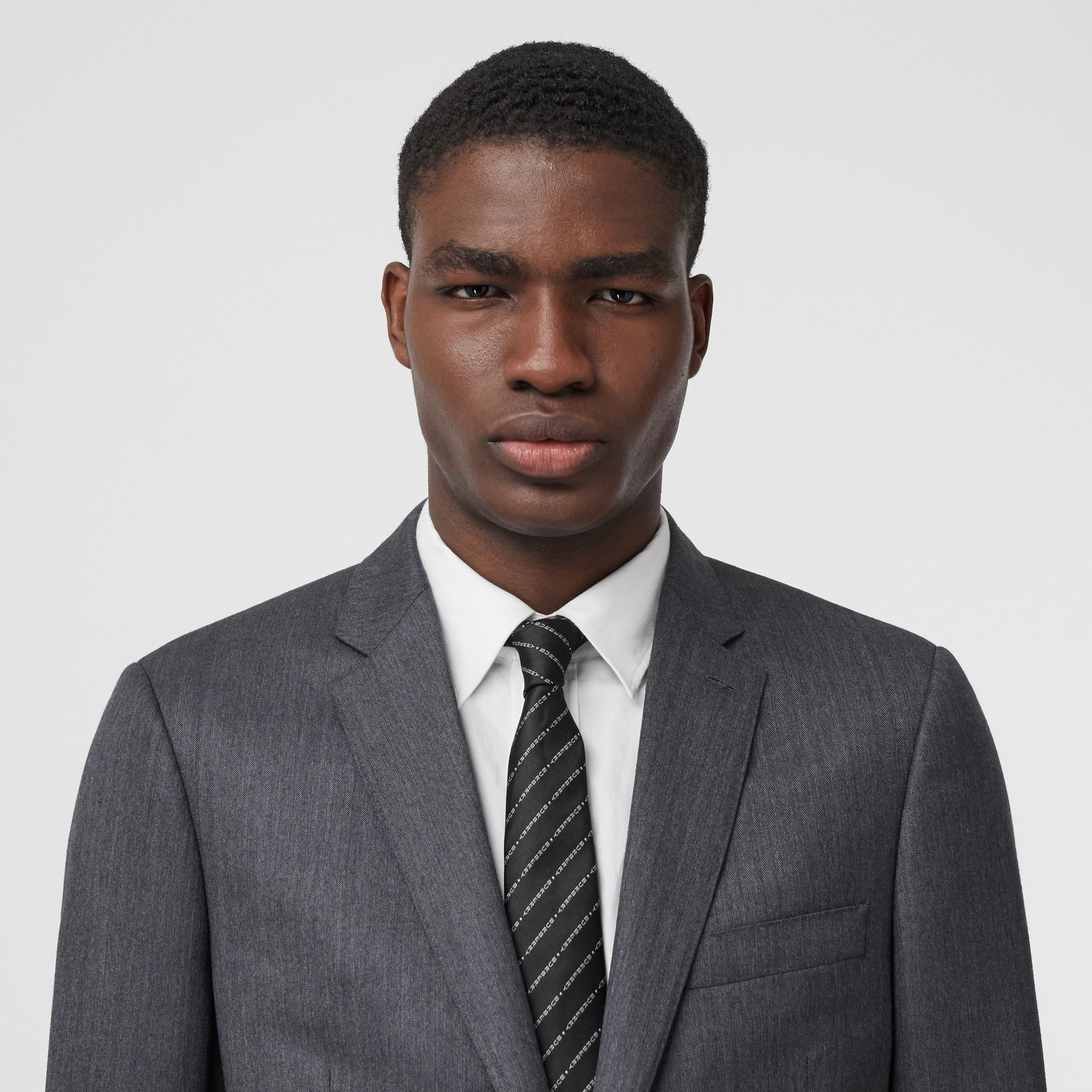 Classic Cut Logo Silk Jacquard Tie in Black - Men | Burberry Australia - 3