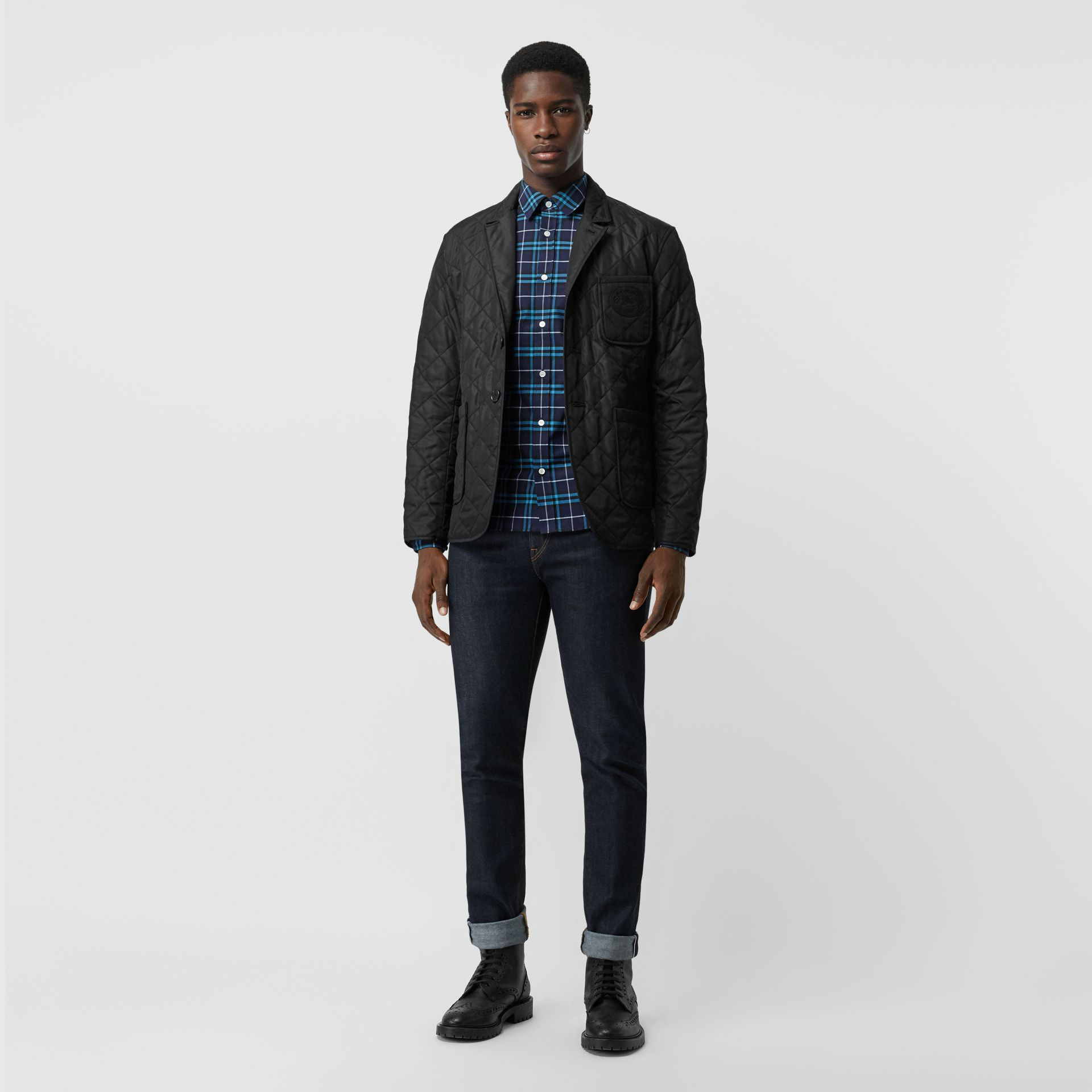 Check Stretch Cotton Shirt in Bright Navy - Men | Burberry Canada - gallery image 4