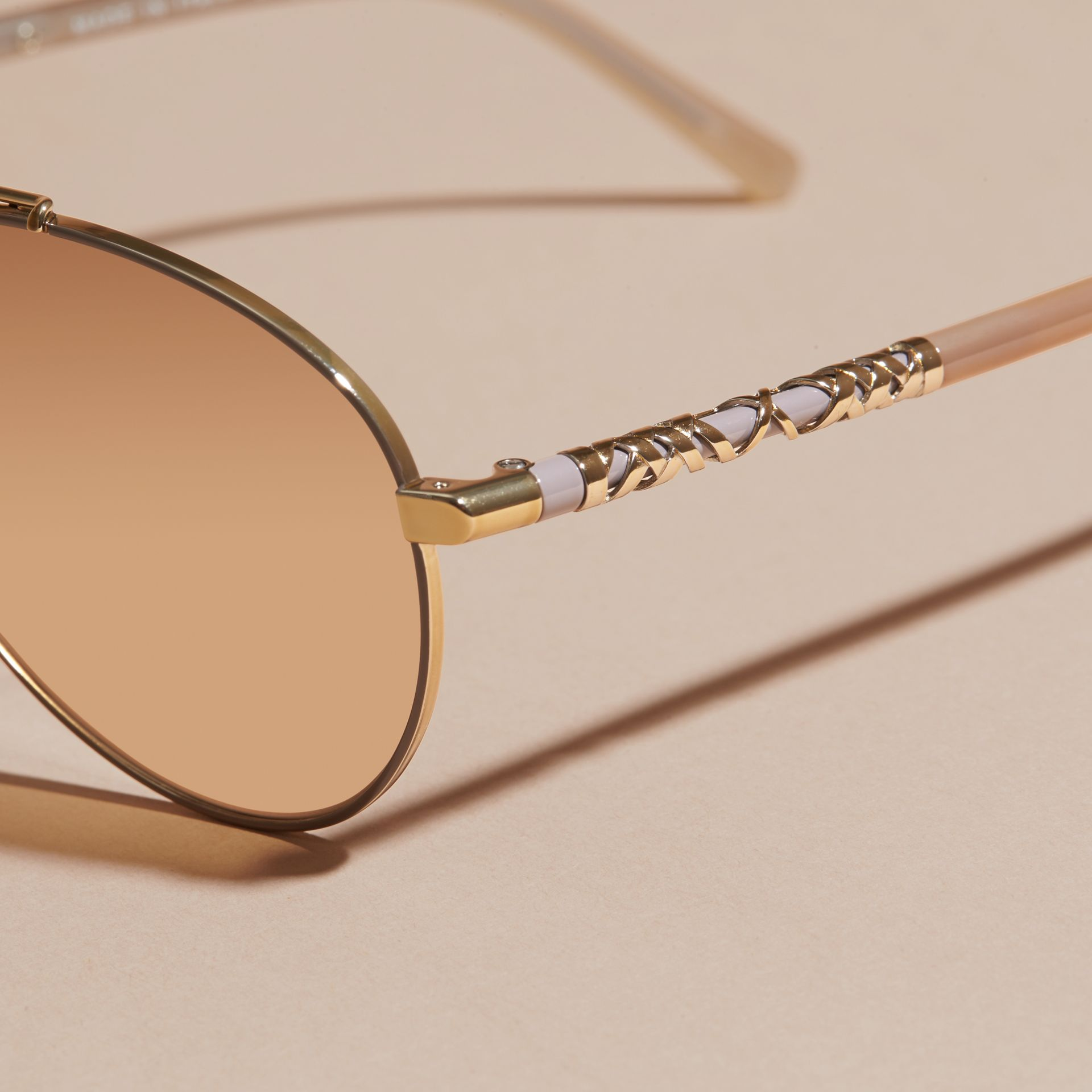 Check Detail Pilot Sunglasses in Pale Gold - Women | Burberry Australia - gallery image 2