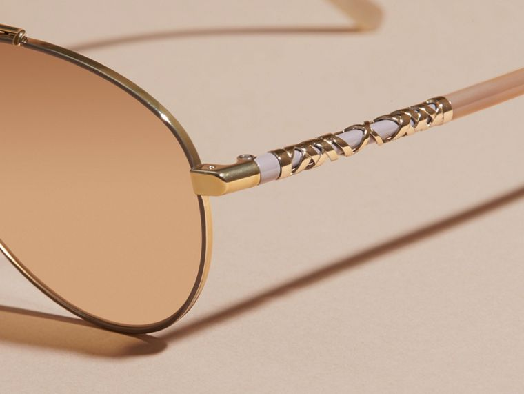 Check Detail Pilot Sunglasses in Pale Gold - Women | Burberry Australia - cell image 1