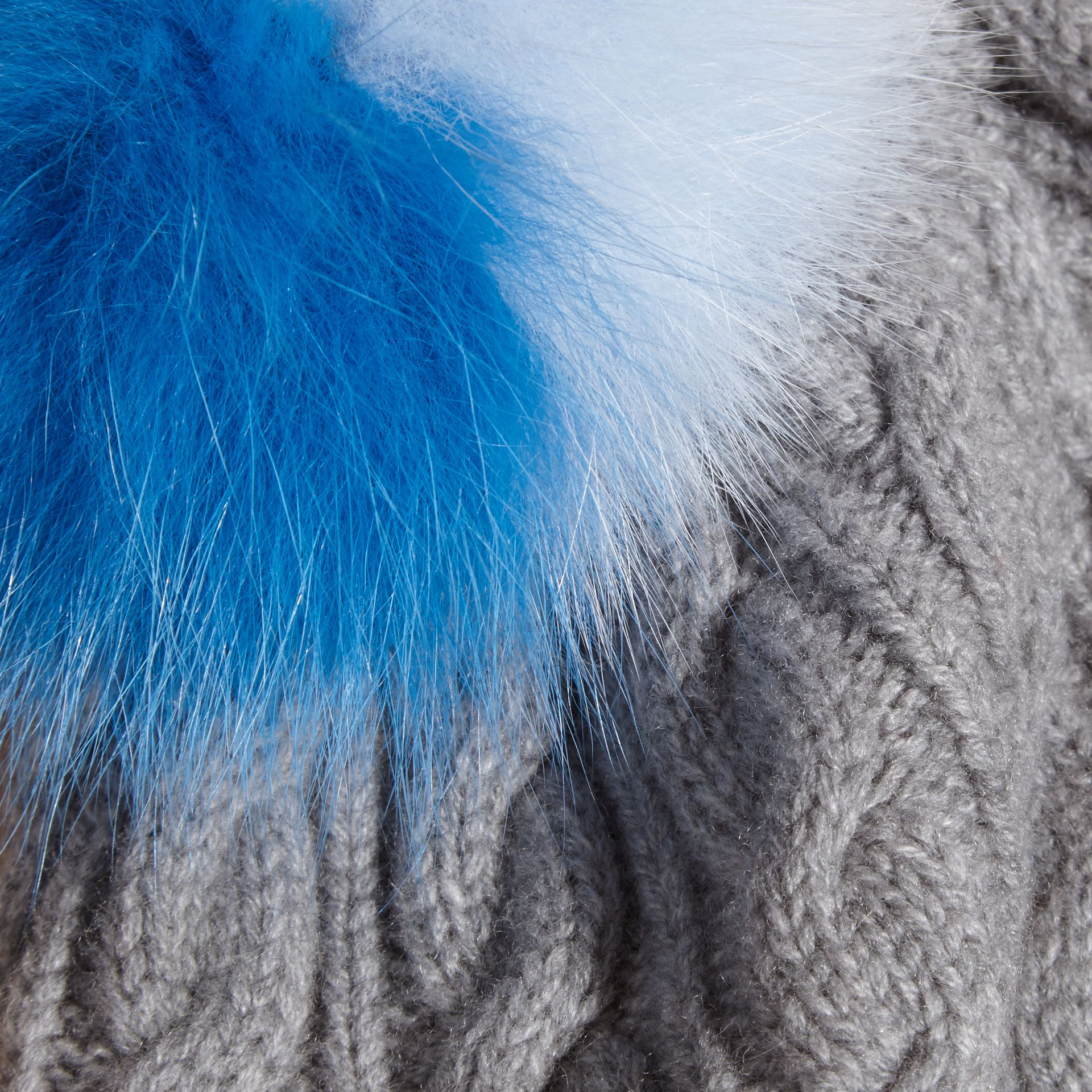 Wool Cashmere Cable Knit Beanie with Two-tone Fur Pom-Pom Grey Melange/cornflower Blue - gallery image 2