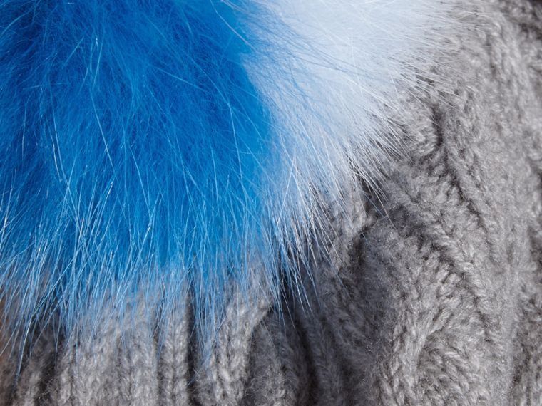 Wool Cashmere Cable Knit Beanie with Two-tone Fur Pom-Pom Grey Melange/cornflower Blue - cell image 1