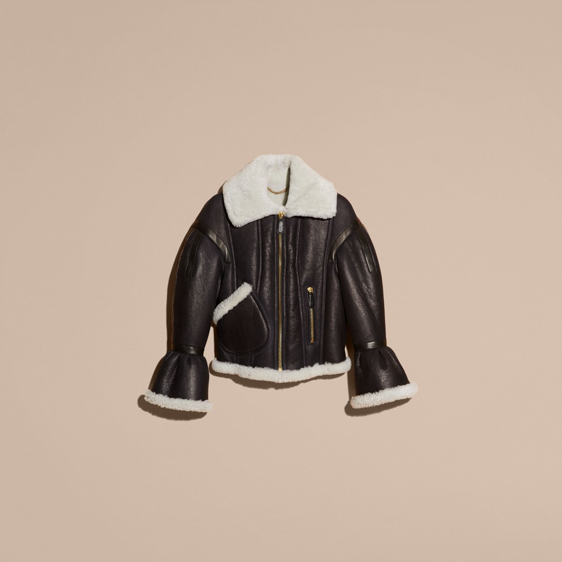 Black/natural Sculptural Shearling Flight Jacket - gallery image 4