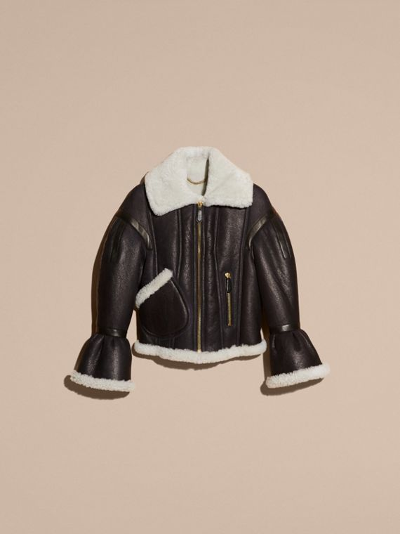 Black/natural Sculptural Shearling Flight Jacket - cell image 3