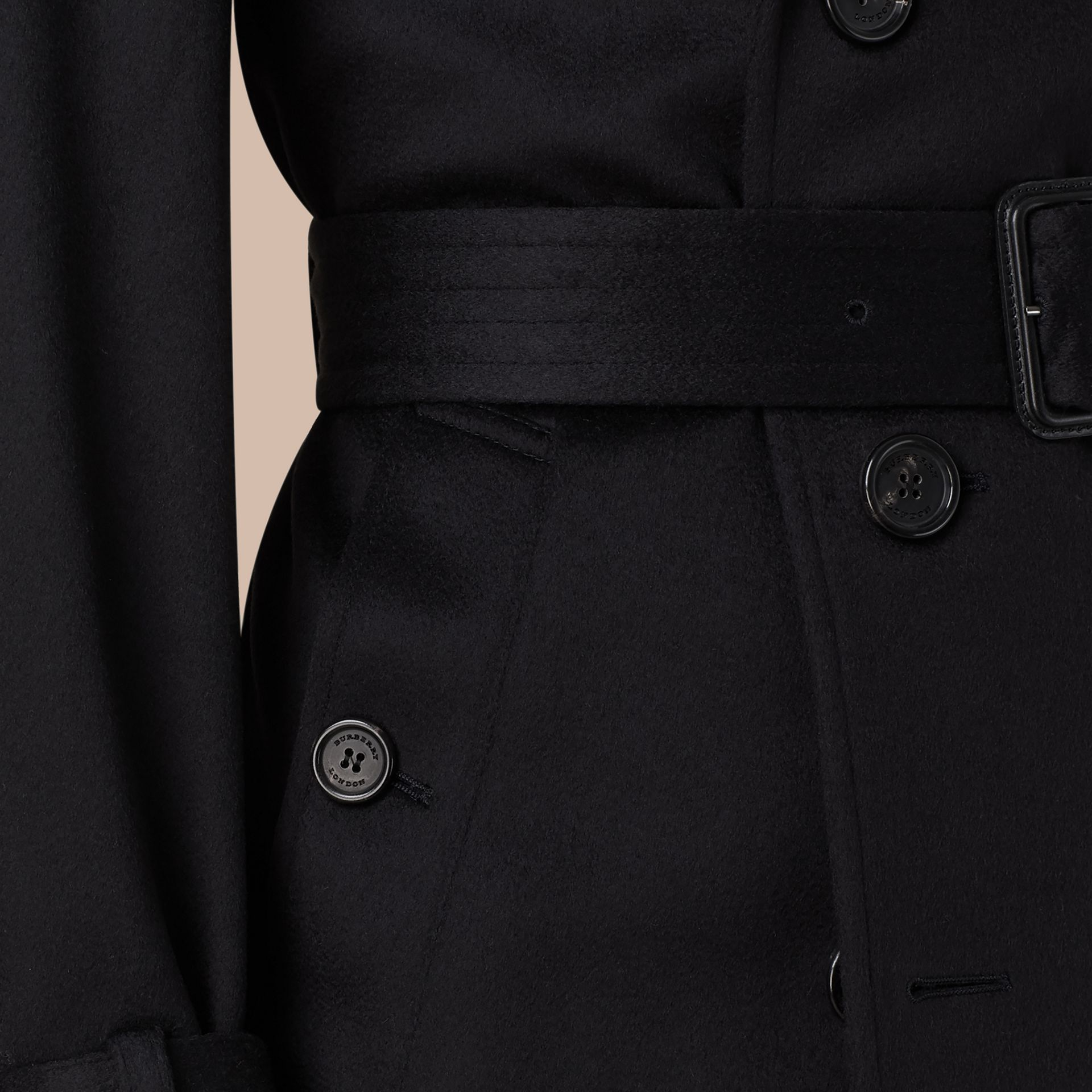 Navy Cashmere Trench Coat - gallery image 2