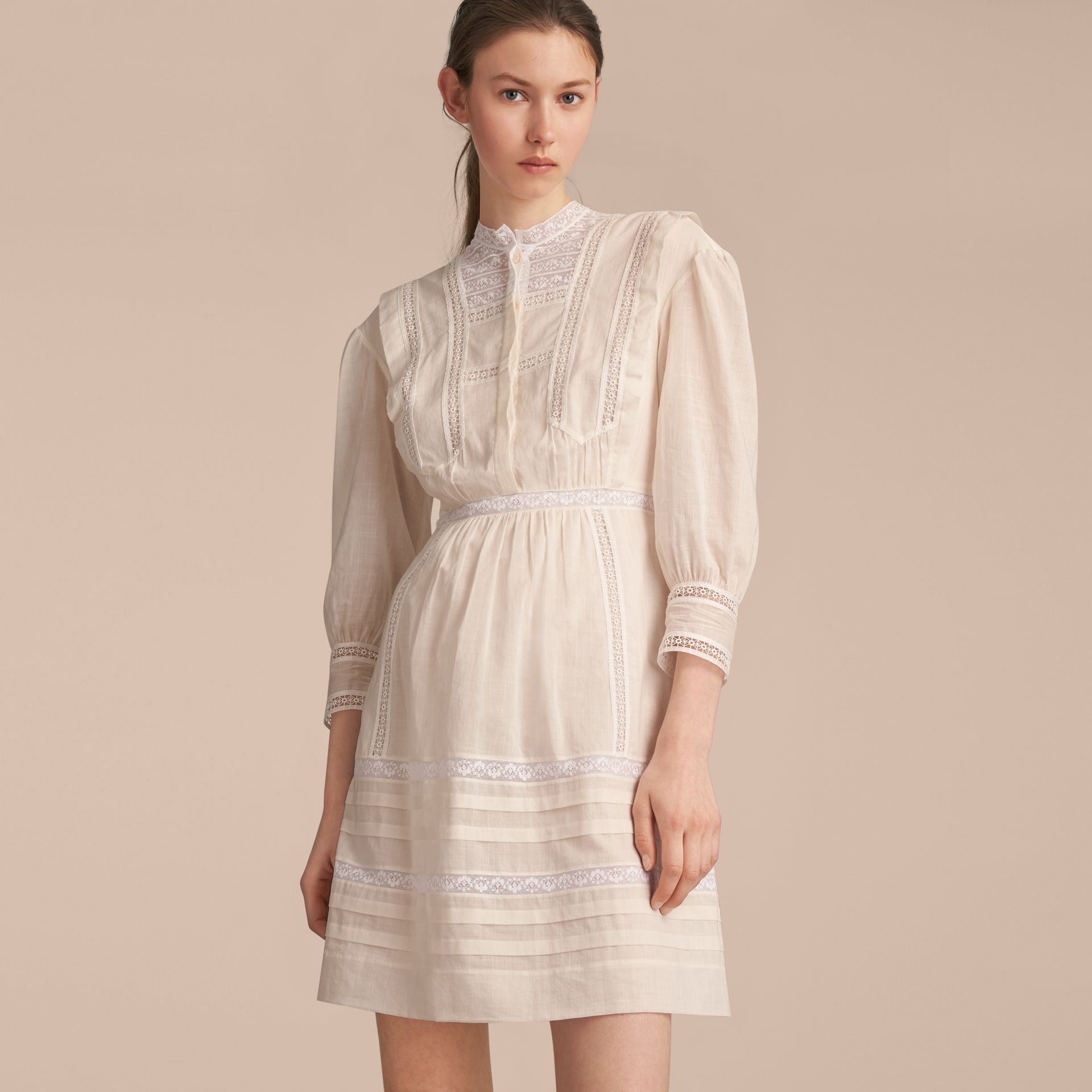 Lace Detail Cotton Voile Dress in Natural White - Women | Burberry - gallery image 6