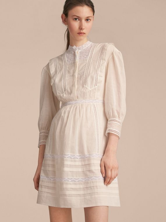 Lace Detail Cotton Voile Dress - Women | Burberry Australia