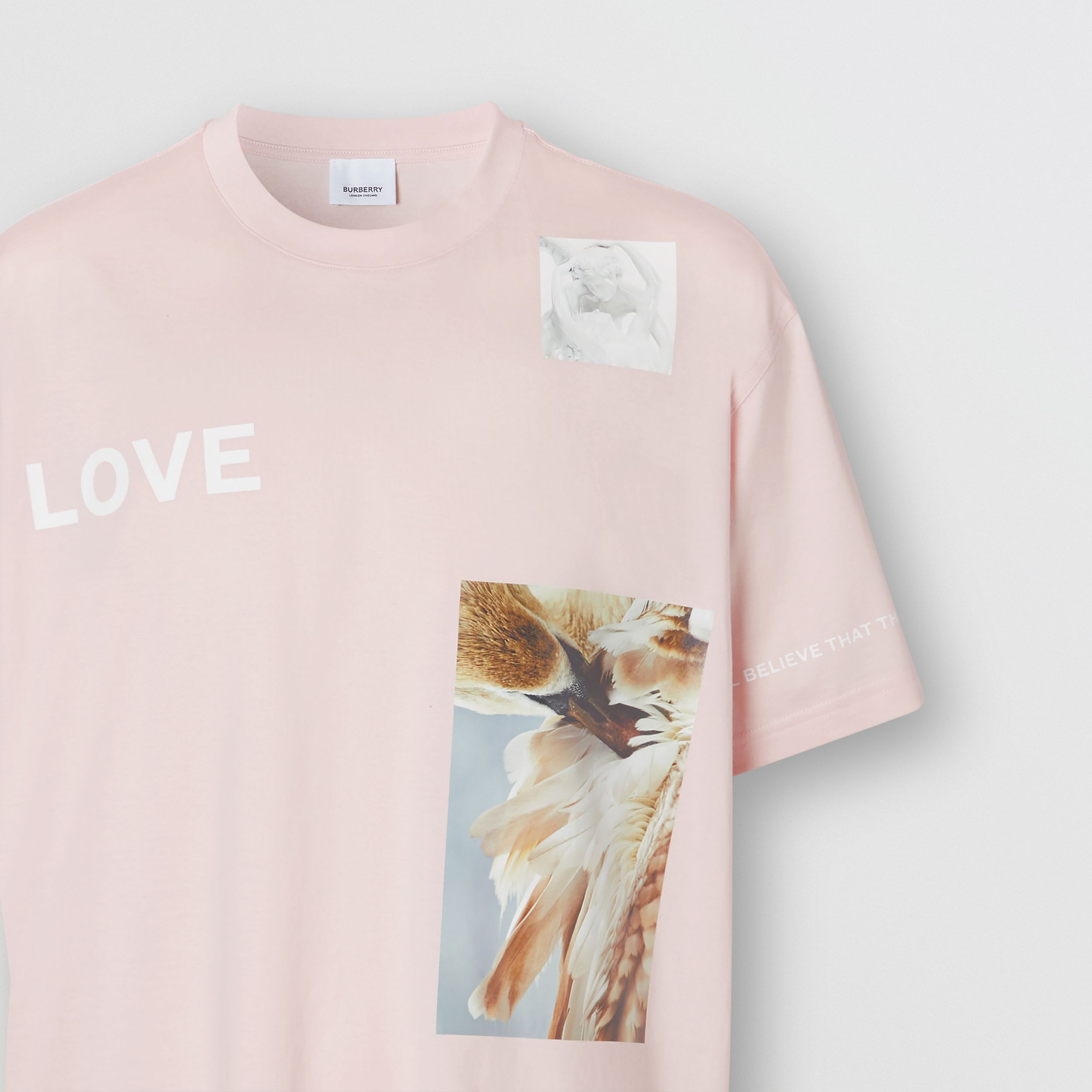Montage Print Cotton Oversized T-shirt in Alabaster Pink - Men | Burberry United States - 3