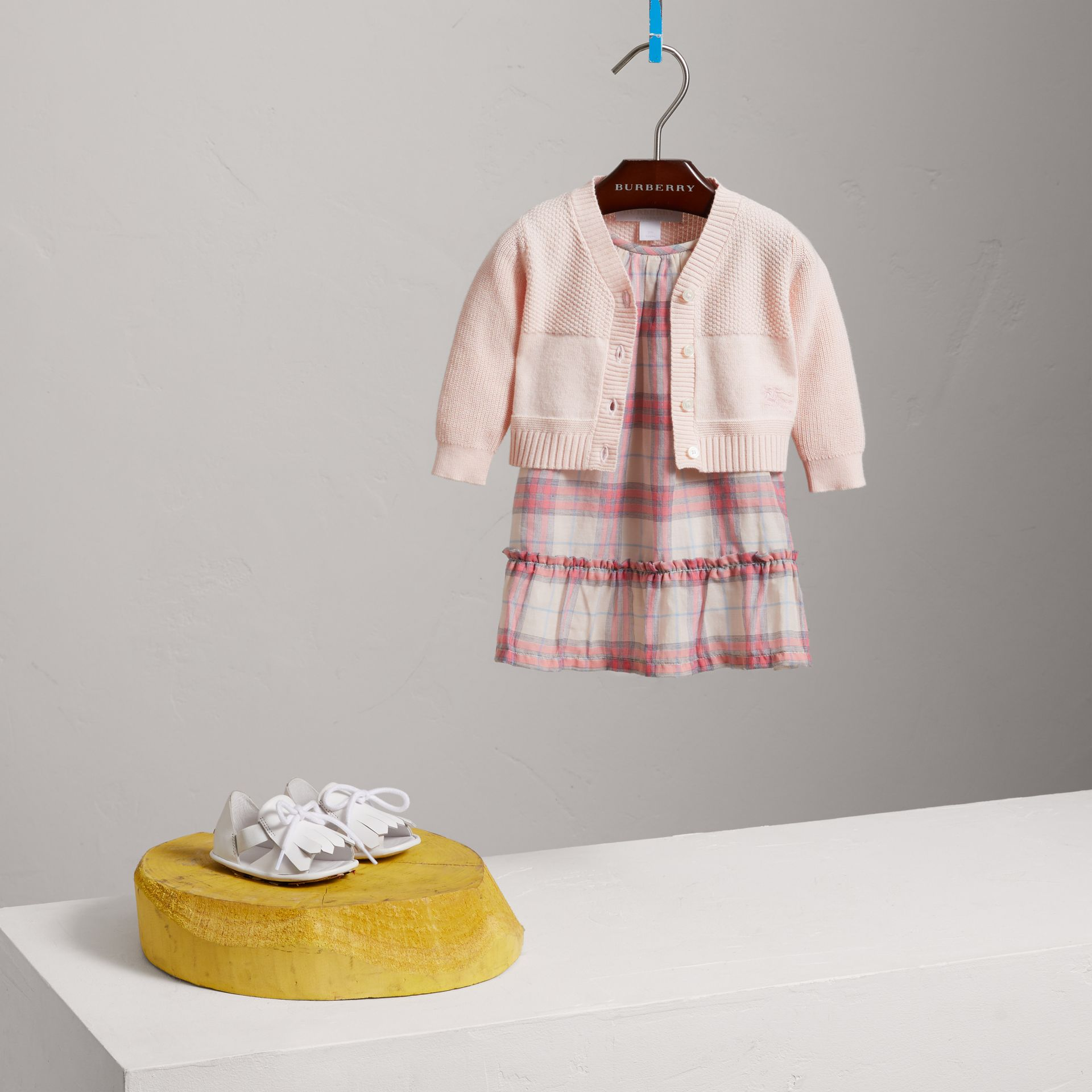 Multi-stitch Cotton Cardigan in Powder Pink - Children | Burberry United Kingdom - gallery image 2