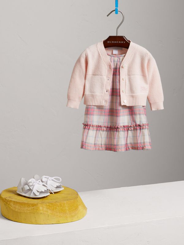 Multi-stitch Cotton Cardigan in Powder Pink - Children | Burberry United Kingdom - cell image 2
