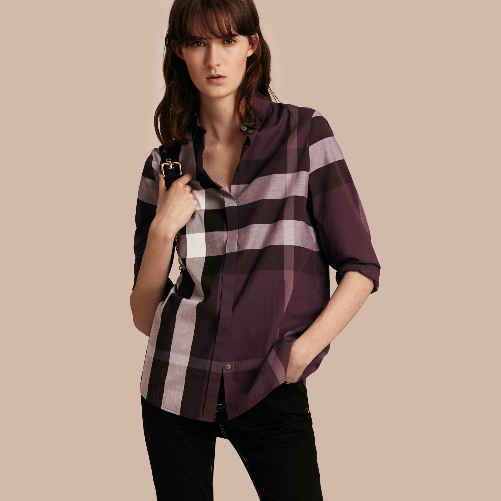 Dark violet Check Cotton Shirt Dark Violet - gallery image 1