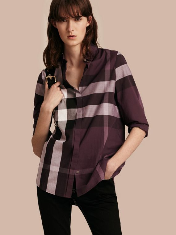 Check Cotton Shirt Dark Violet