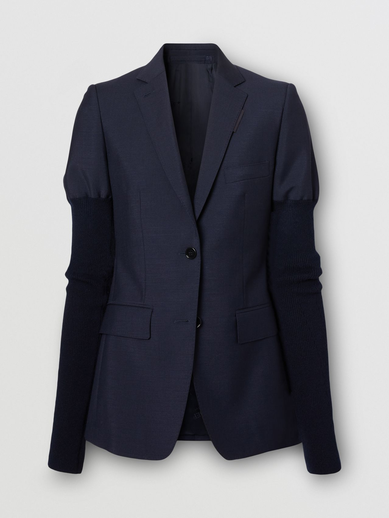 Rib Knit Sleeve Mohair Wool Tailored Jacket in Dark Navy