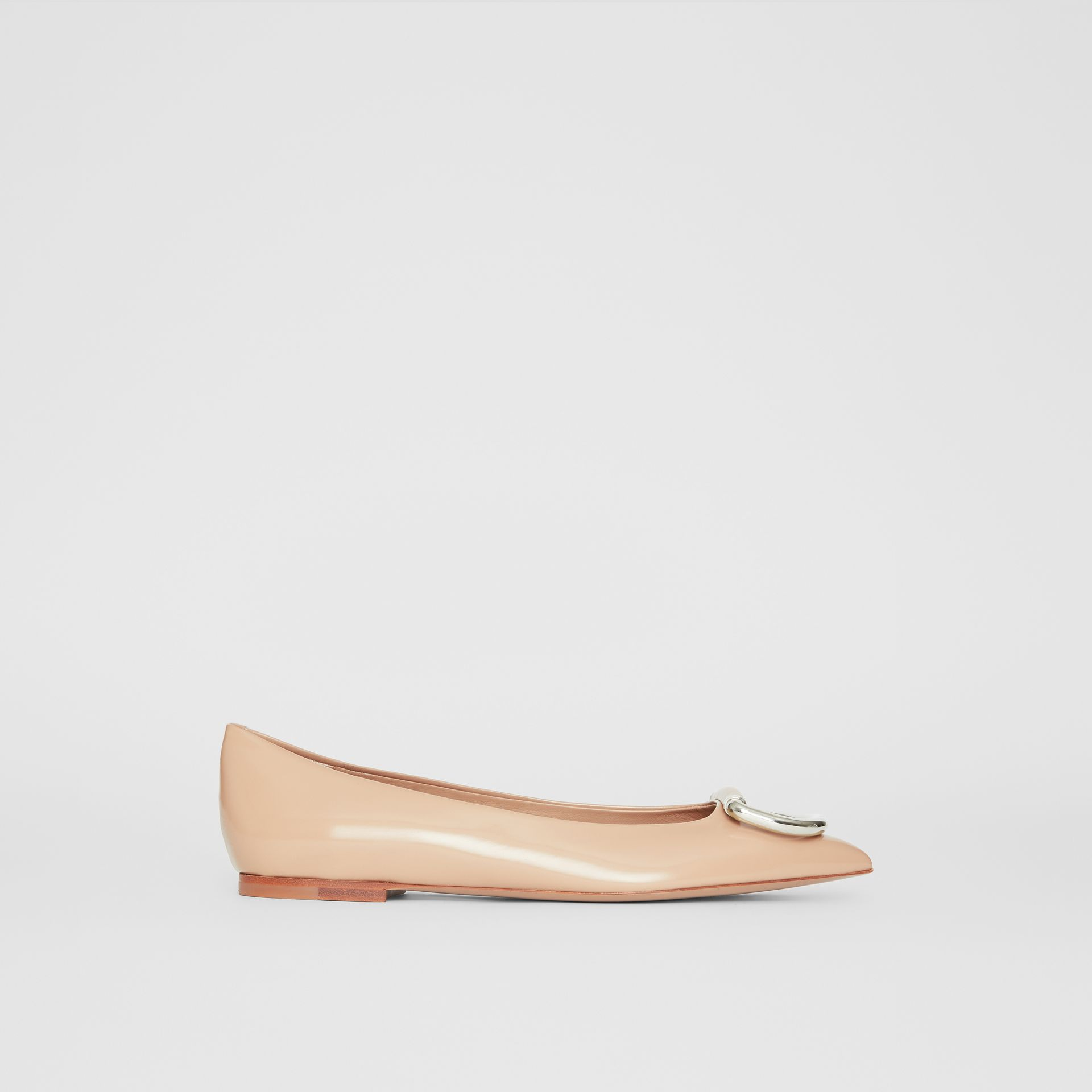 The Leather D-ring Flat in Nude Blush - Women | Burberry United Kingdom - gallery image 4