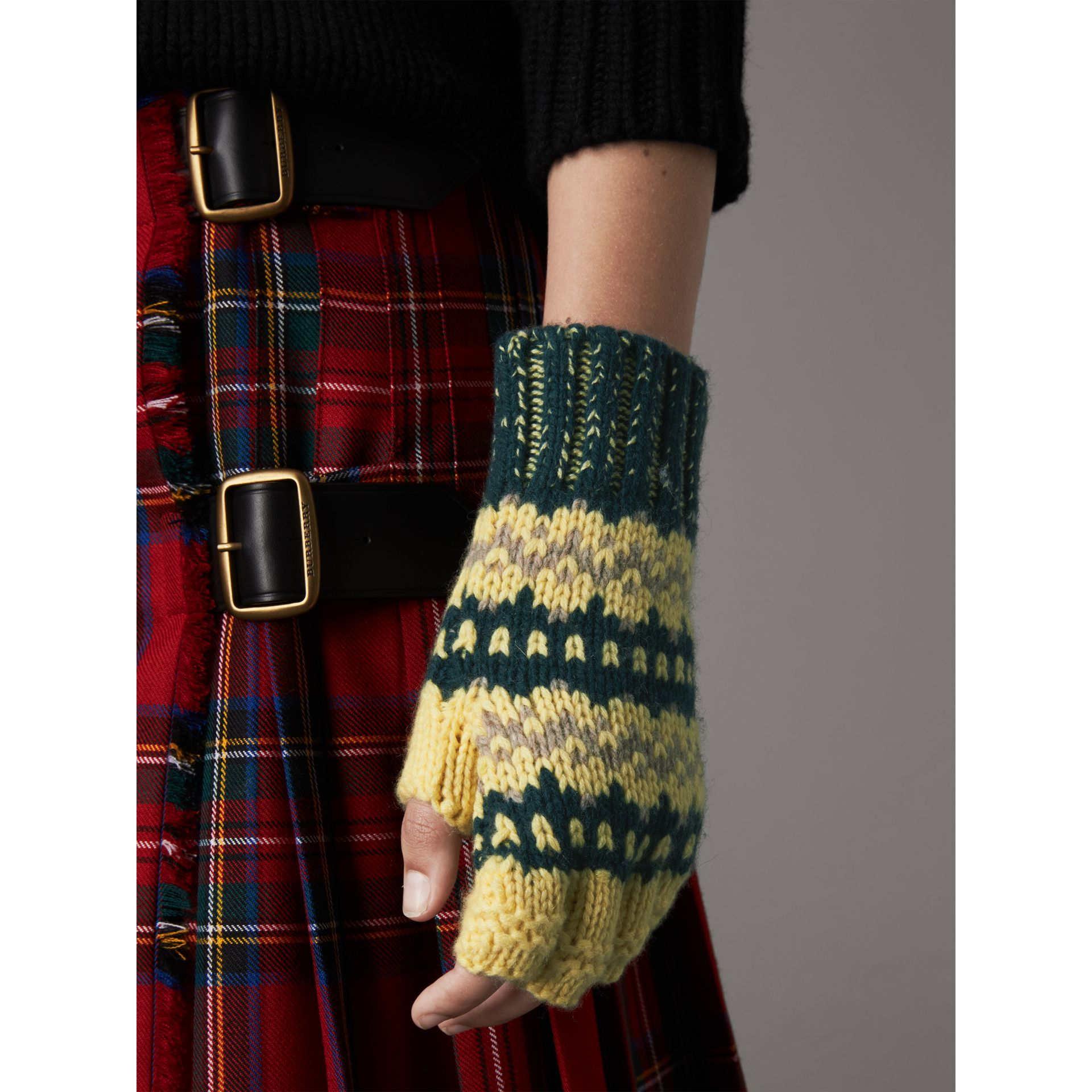 Fair Isle Cashmere Wool Blend Fingerless Gloves in Pine Green | Burberry - gallery image 3