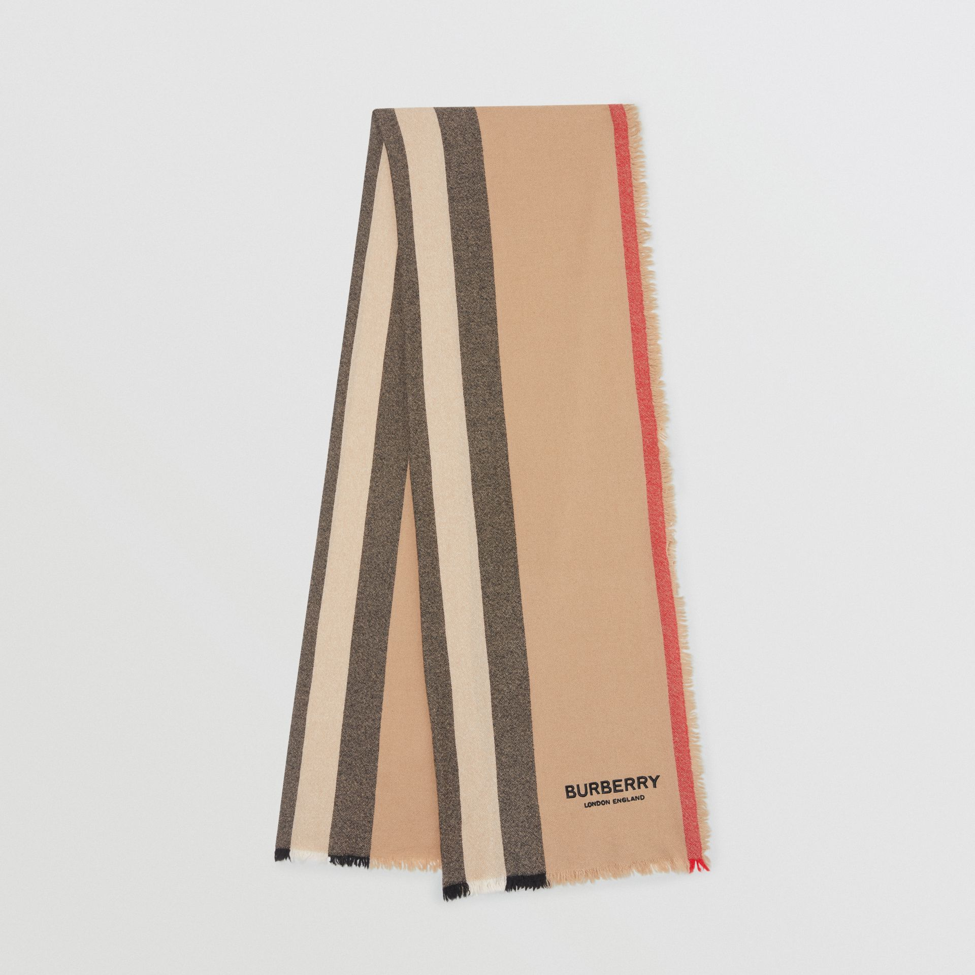 Icon Stripe Wool Cashmere Scarf in Camel | Burberry - gallery image 0