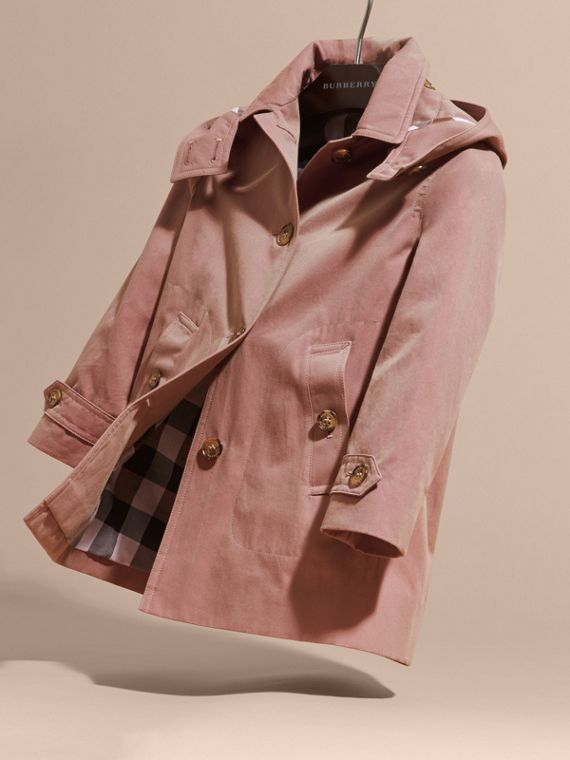 Detachable Hood Tropical Gabardine Trench Coat Antique Rose - cell image 2