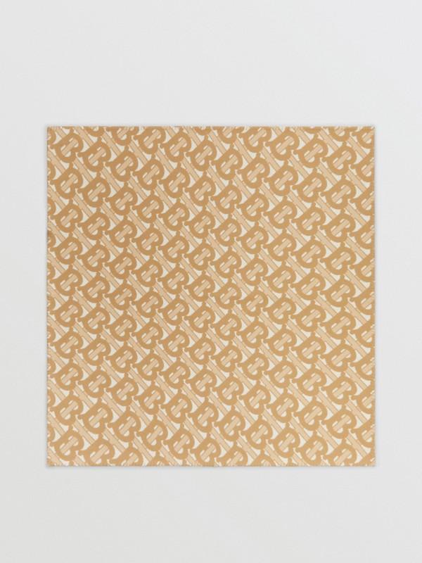 花押字圖案美麗諾羊毛喀什米爾毛毯 (淺沙色) | Burberry - cell image 2