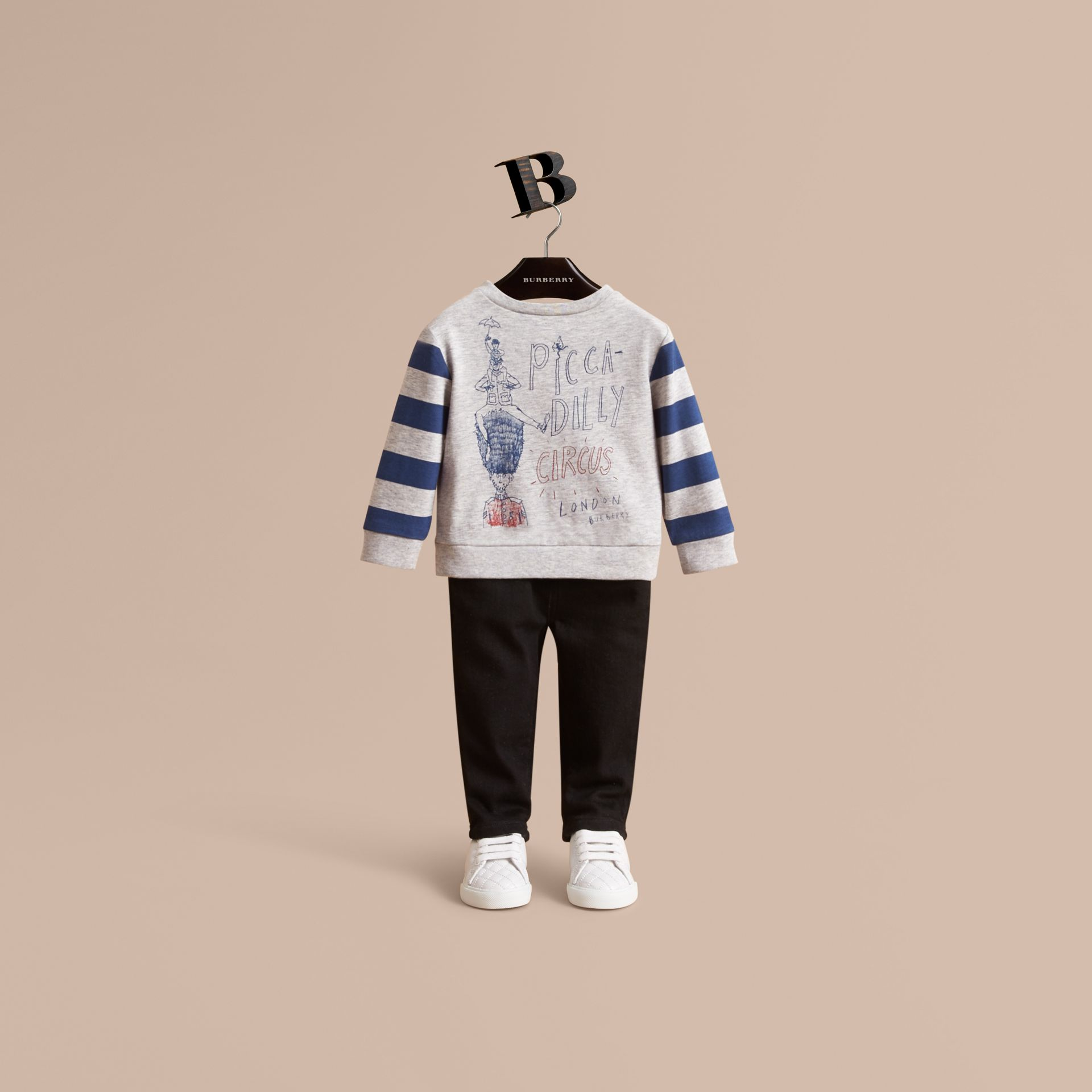 Long-sleeve London Icons Print Cotton T-shirt | Burberry - gallery image 1