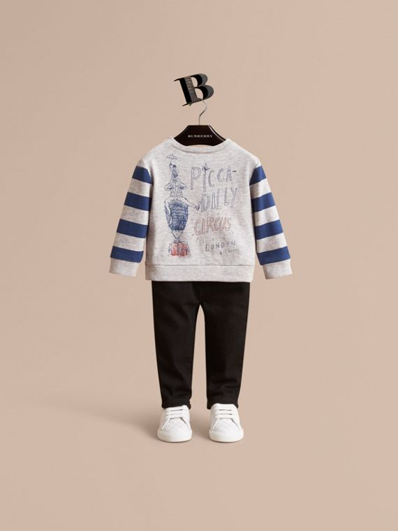 Long-sleeve London Icons Print Cotton T-shirt | Burberry Singapore