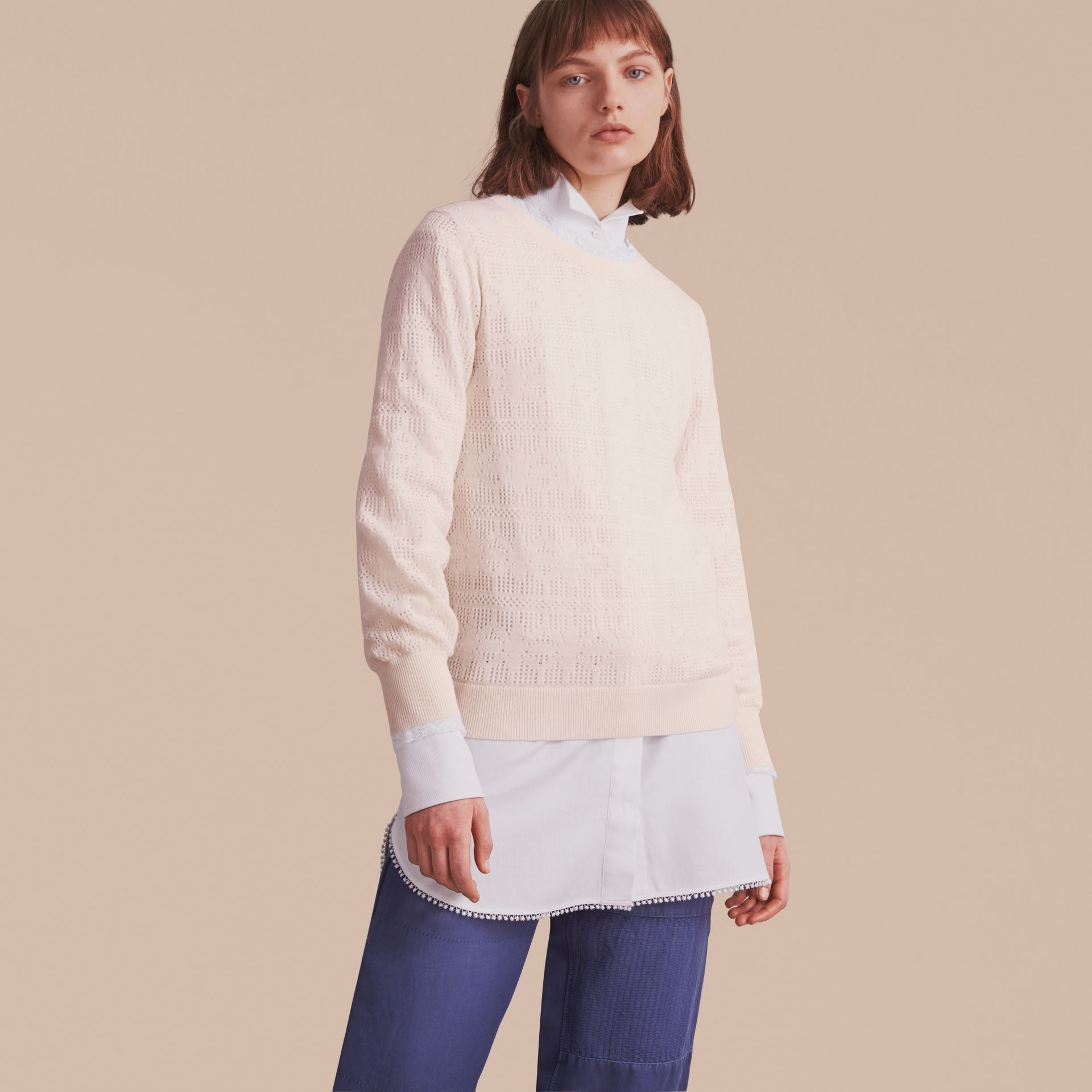 Lace Trim Knitted Wool Cashmere Sweater - gallery image 7